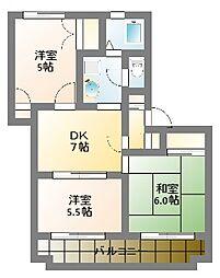 アップルハイツ1号棟[2階]の間取り