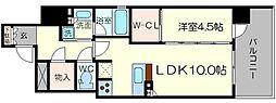 クリスタルエグゼ南堀江 3階1LDKの間取り