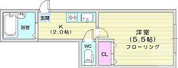 仙台市地下鉄東西線 川内駅 徒歩5分の賃貸マンション 1階1Kの間取り