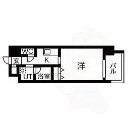 名古屋市営東山線 八田駅 徒歩1分の賃貸マンション 6階1Kの間取り