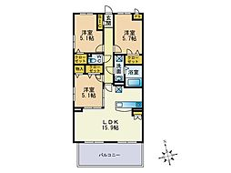 福岡県福岡市東区下原1丁目の賃貸マンションの間取り