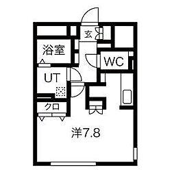 名古屋市営名城線 伝馬町駅 徒歩4分の賃貸マンション 5階ワンルームの間取り