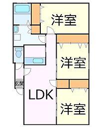 札幌市電2系統 西線14条駅 徒歩4分の賃貸アパート 2階3LDKの間取り
