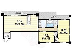 北大阪急行電鉄 緑地公園駅 徒歩17分の賃貸マンション 7階2LDKの間取り