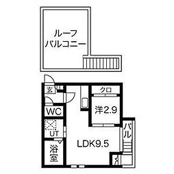 Grandtic COPAIN尼ケ坂 2階1LDKの間取り