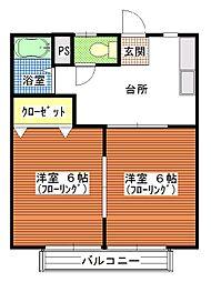 茨城県ひたちなか市大字田彦の賃貸アパートの間取り