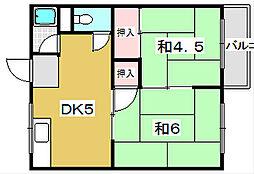 大阪府枚方市出口2丁目の賃貸アパートの間取り