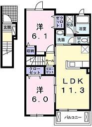 東京都青梅市長淵2丁目の賃貸アパートの間取り
