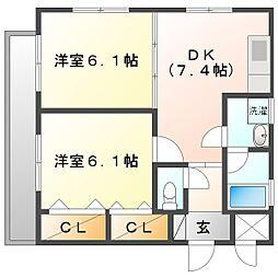 神奈川県川崎市幸区古市場の賃貸マンションの間取り