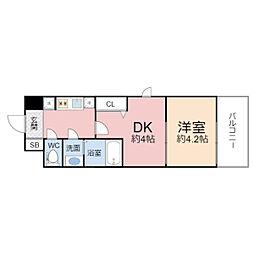 ビガーポリス346京橋2 3階1DKの間取り