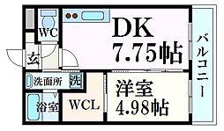 阪神本線 久寿川駅 徒歩7分の賃貸マンション 2階1DKの間取り