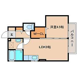 静岡県静岡市清水区駒越北町の賃貸アパートの間取り