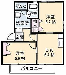 シャーメゾンKura B棟[B102号室]の間取り