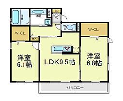 (仮称)東住吉田中ハイツ[2階]の間取り