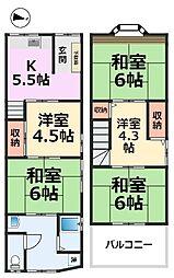 [一戸建] 兵庫県尼崎市浜3丁目 の賃貸【兵庫県 / 尼崎市】の間取り