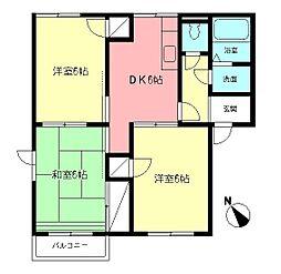 ベルデュールA[2階]の間取り