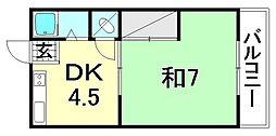 中川荘 西棟[102 号室号室]の間取り