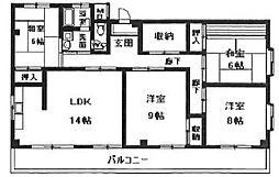 サニーハイツ味原[7階]の間取り
