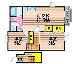 岡山県総社市中央5丁目の賃貸アパートの間取り