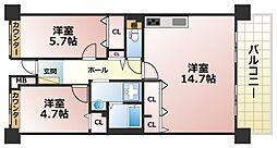 フレール六甲桜ヶ丘[3階]の間取り