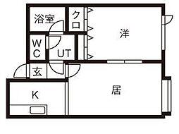北海道札幌市清田区美しが丘一条8丁目の賃貸アパートの間取り
