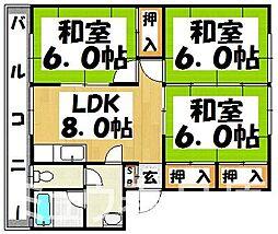 福岡県春日市宝町2丁目の賃貸マンションの間取り