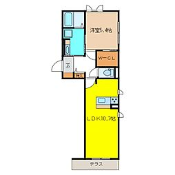 JR篠ノ井線 川中島駅 徒歩31分の賃貸アパート 2階1LDKの間取り