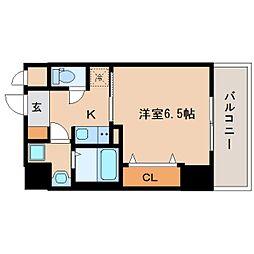 近鉄奈良線 新大宮駅 徒歩3分の賃貸マンション 4階1Kの間取り