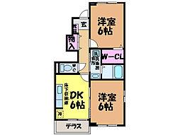 愛媛県松山市星岡1丁目の賃貸アパートの間取り