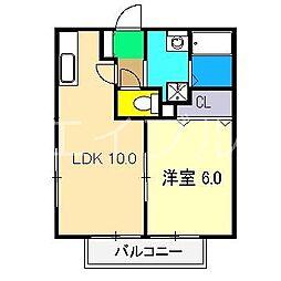 ソレーユ高見III[1階]の間取り