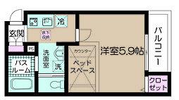 小田急小田原線 喜多見駅 徒歩8分の賃貸アパート 1階1Kの間取り