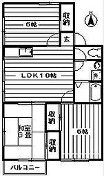 ルーミー千年D棟[201号室]の間取り