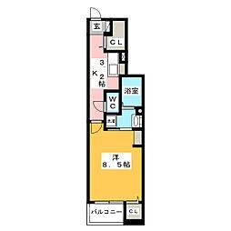 静岡県富士宮市錦町の賃貸アパートの間取り