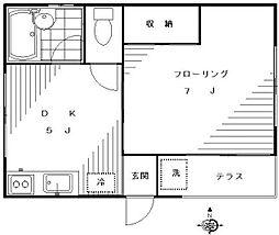 東京都世田谷区下馬2丁目の賃貸アパートの間取り