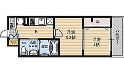 エグゼ新北野[13階]の間取り