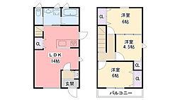 [テラスハウス] 兵庫県西宮市花園町 の賃貸【兵庫県 / 西宮市】の間取り