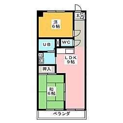 コーポうちふじ[3階]の間取り