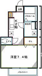 JR中央本線 国立駅 徒歩13分の賃貸アパート 1階1Kの間取り