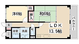 兵庫県伊丹市森本1丁目の賃貸マンションの間取り