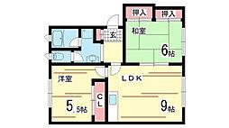 兵庫県神戸市須磨区車の賃貸アパートの間取り