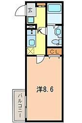 FRONTIER SUGAMO 2階1Kの間取り