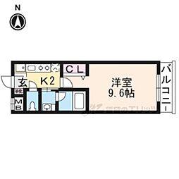 JR山陰本線 円町駅 徒歩5分の賃貸マンション 1階1Kの間取り