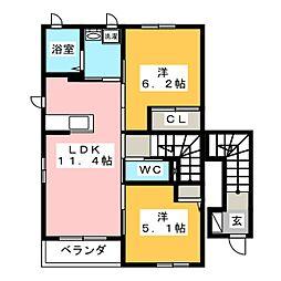 ティアラ壱番館[2階]の間取り