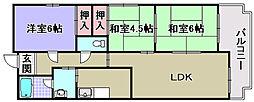ラポール観音寺[205号室]の間取り