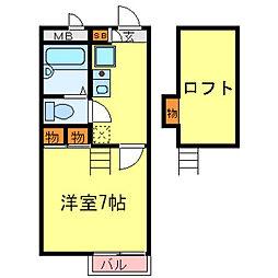 兵庫県尼崎市常光寺2丁目の賃貸アパートの間取り