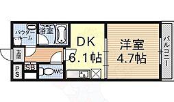 エンゼルプラザ大津長等 8階1DKの間取り