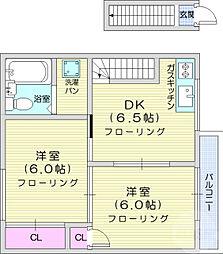 真山アパート 2階2DKの間取り
