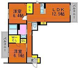 グランマスト西崎 B棟[3階]の間取り