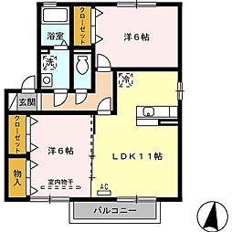 ソレイユ千田 D棟[2階]の間取り