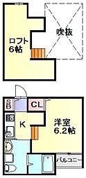 福岡県春日市伯玄町2丁目の賃貸アパートの間取り
